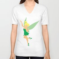tinker bell V-neck T-shirts featuring Tinker bell by Dewdroplet