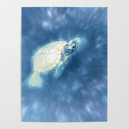 Psychedelic Space Turtle Poster