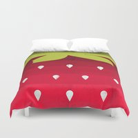 strawberry Duvet Covers featuring Strawberry by Kakel
