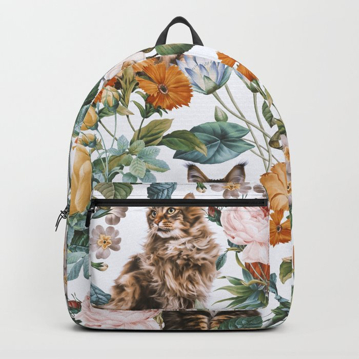 Cat and Floral Pattern III Backpack