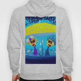 Cartoony pirates with yellow umbrella under moonlight Hoody