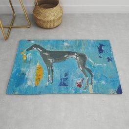 Greyhound Dog Abstract Painting Rug