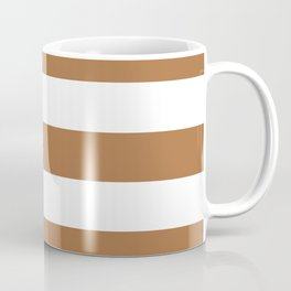 Metallic bronze - solid color - white stripes pattern Coffee Mug