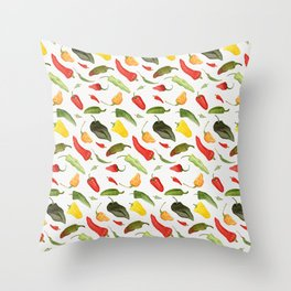 Watercolor Hot Peppers Throw Pillow