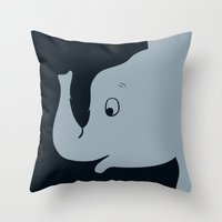 dumbo Throw Pillows featuring Dumbo by Citron Vert