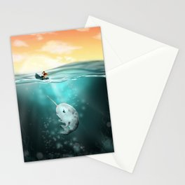Narwhal meets Girl Stationery Cards