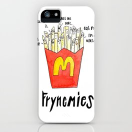 Frynemies, Frenemy, French Fries, Food Art, Funny Art, Illustration, Watercolor, Handlettering. iPhone Case