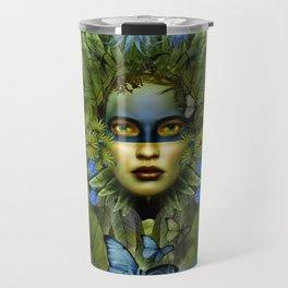 """Tropical green and indigo jungle Woman"" Travel Mug"