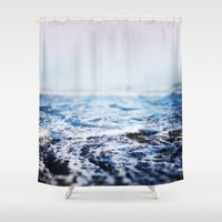 surf Shower Curtains featuring Surf by Leah Flores