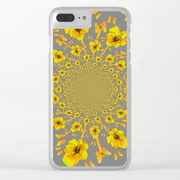 CHARCOAL GREY YELLOW AMARYLLIS BUTTERFLY ART Clear iPhone Case