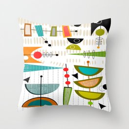 Mid-Century Modern Abstract Atomic Art Throw Pillow