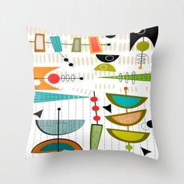 Mid-Century Modern Abstract Atomic Art Throw Pillow