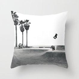 Skateboarding Poster Black and White Venice Skatepark Horizontal Throw Pillow