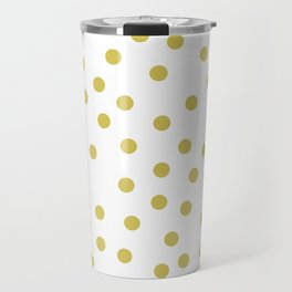 Simply Dots in Mod Yellow on White Travel Mug