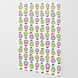 dolls matryoshka on white background, pink and blue colors Wallpaper