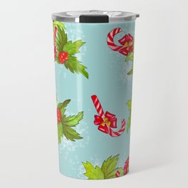 Christmas candy canes with winterberry Travel Mug
