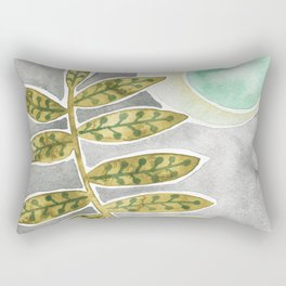 Mint Moon and Leaves Rectangular Pillow