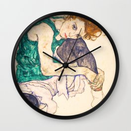 """Egon Schiele """"Seated Woman with Legs Drawn Up"""" Wall Clock"""