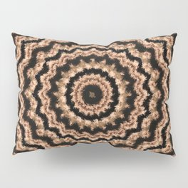 Kaleidoscope Beige Circular Pattern on Black Pillow Sham