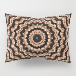 Kaleidoscope Beige Circular Pattern on Black Pillow Sham
