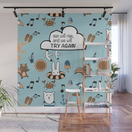 Fun Summer Beach Theme Pattern with Animal Illustration and Inspirational Hand Lettering Quote Wall Mural