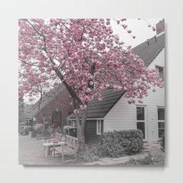 Pink Cherry Blossom Tree Metal Print