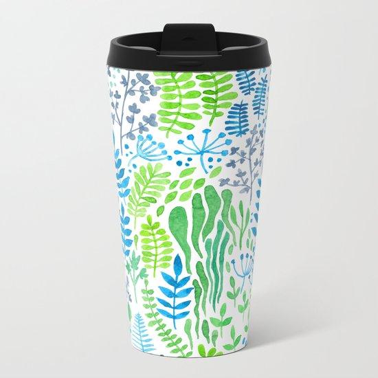 Watercolor floral doodles white Metal Travel Mug