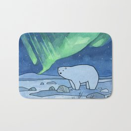 Polar Bear and Northern Lights Bath Mat