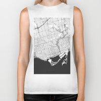 toronto Biker Tanks featuring Toronto Map Gray by City Art Posters