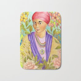 Woman With Adinkra Bath Mat