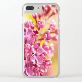 Lilac flowerets bloom bright pink Clear iPhone Case