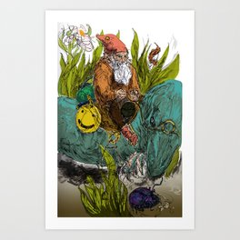 Gnome and Anole Art Print