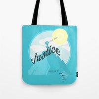 justice league Tote Bags featuring Justice !.. by Oblivion Creative