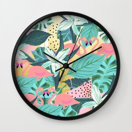 Flamingo Tropical #society6 #decor #buyart Wall Clock