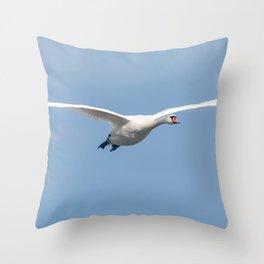 Mute Swan in flight blue sky (Cygnus olor) Throw Pillow