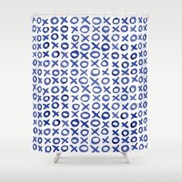 Xoxo valentine's day - blue Shower Curtain
