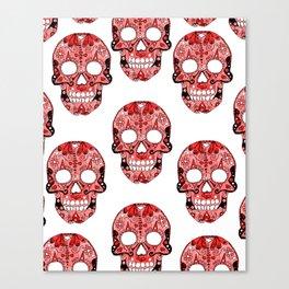 Red Skulls Pattern Canvas Print