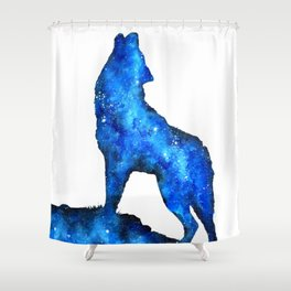 Howling Wolf | Space Wolf | Double Exposure Wolf | Wolf Painting | Blue Wolf Shower Curtain