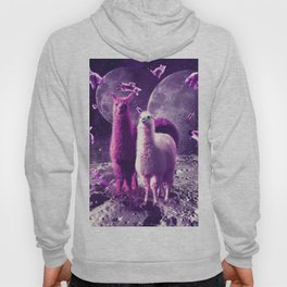 Outer Space Galaxy Cat With Llama Hoody