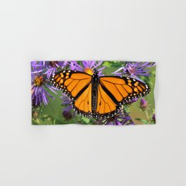 Monarch Butterfly on Wild Asters (square) Hand & Bath Towel