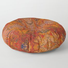 Branches Aflame with Flower Floor Pillow