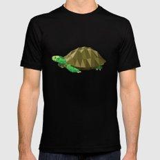 Geometric Turtle MEDIUM Black Mens Fitted Tee