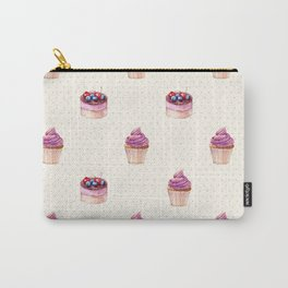 Vintage lavender pink ivory polka dots cherries pie cupcakes pattern Carry-All Pouch