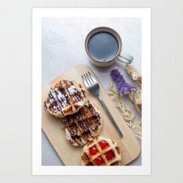 Waffles with black coffee Art Print