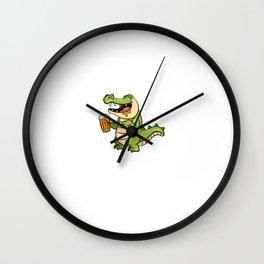 Alkiator Besoffener Aligator Trinkt Bier Für Biertrinker Wall Clock