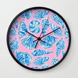 Blue Shells on Pink Wall Clock