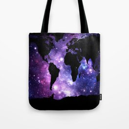 world map. : Galaxy Map Purple Blue Tote Bag