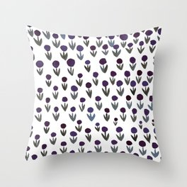 Dot flowers -  green and purple Throw Pillow