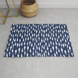 Blue and White Fish Pattern Rug