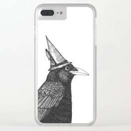 Willem Dacrowe Crow Wearing a Witch's Hat Clear iPhone Case